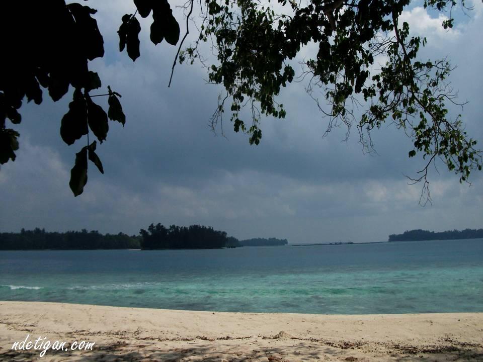 Pantainya sepi, hanya suara ombak dan burung yang terdengar samar